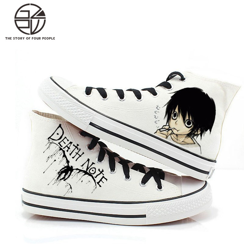Gzpw cosplay DEATH NOTE High quality anime hand painted student flat shoes Fashion wild casual canvas shoes tide  35-42