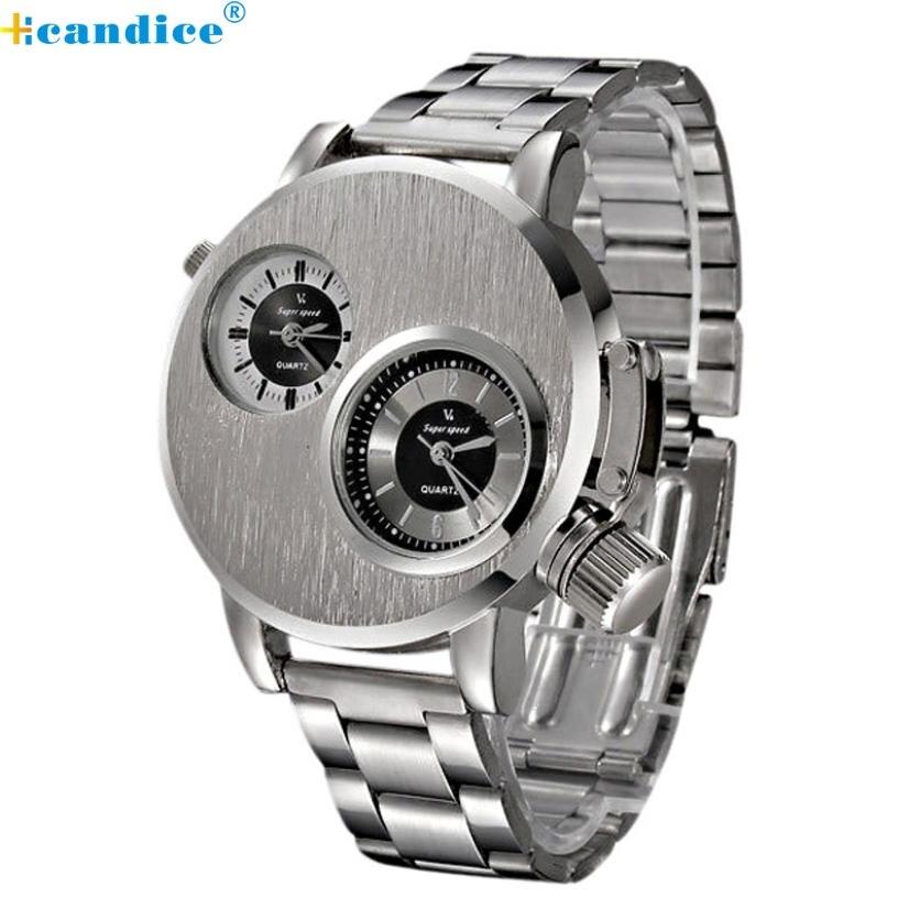 Hcandice Perfect Gift Fashion New watch Men Stainless Steel Date Luxury Military watch Quartz clock Wrist