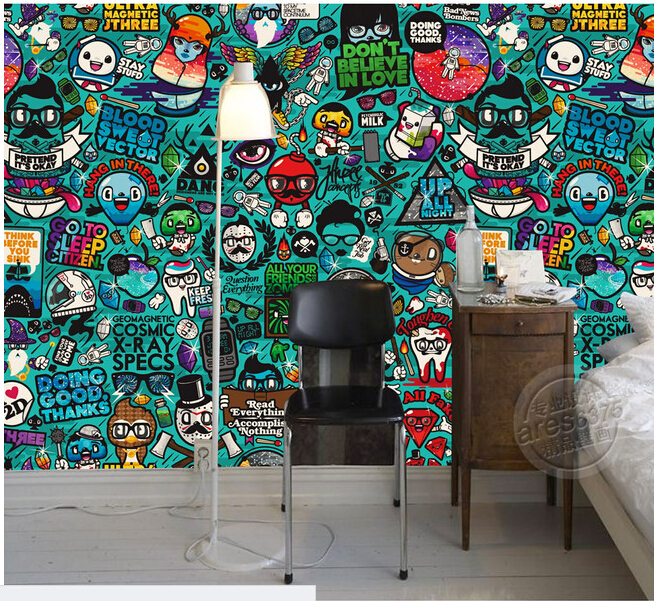 Custom kids wallpaper graffiti murals for children 39 s for Fabrics for children s rooms