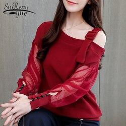 Осенняя рубашка с длинными женские рукавами модные женские блузки 2019 сексуальный топ с открытыми плечами однотонная женская блузка рубашк...