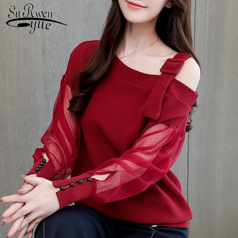 Autumn Long Sleeve Shirt Women Fashion Woman Blouses 2019 Sexy Off Shoulder Top Solid Women Blouse Shirt Clothing Female 1224 40