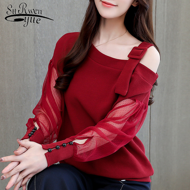 56cf810e6 Outono camisa de manga longa mulheres moda mulher blusas 2019 sexy fora do  ombro top mulheres