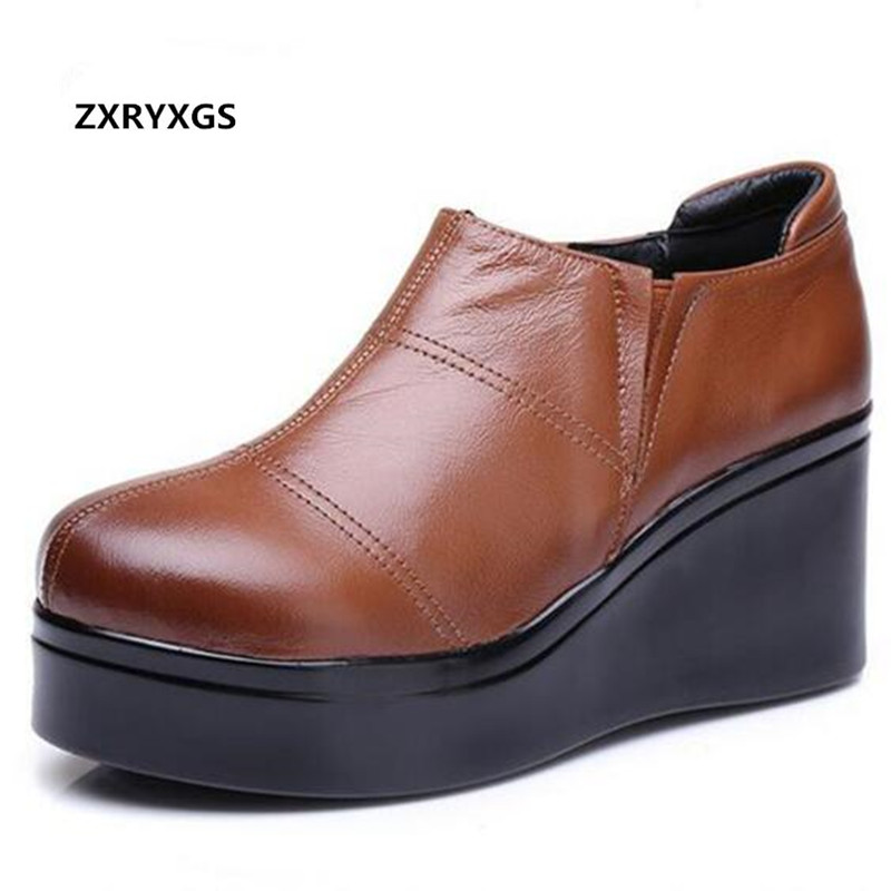 2019 New Spring Shoes Woman Platform Wedges High Heeled Shoes Elegant Comfortable Cowhide Leather Shoes Women