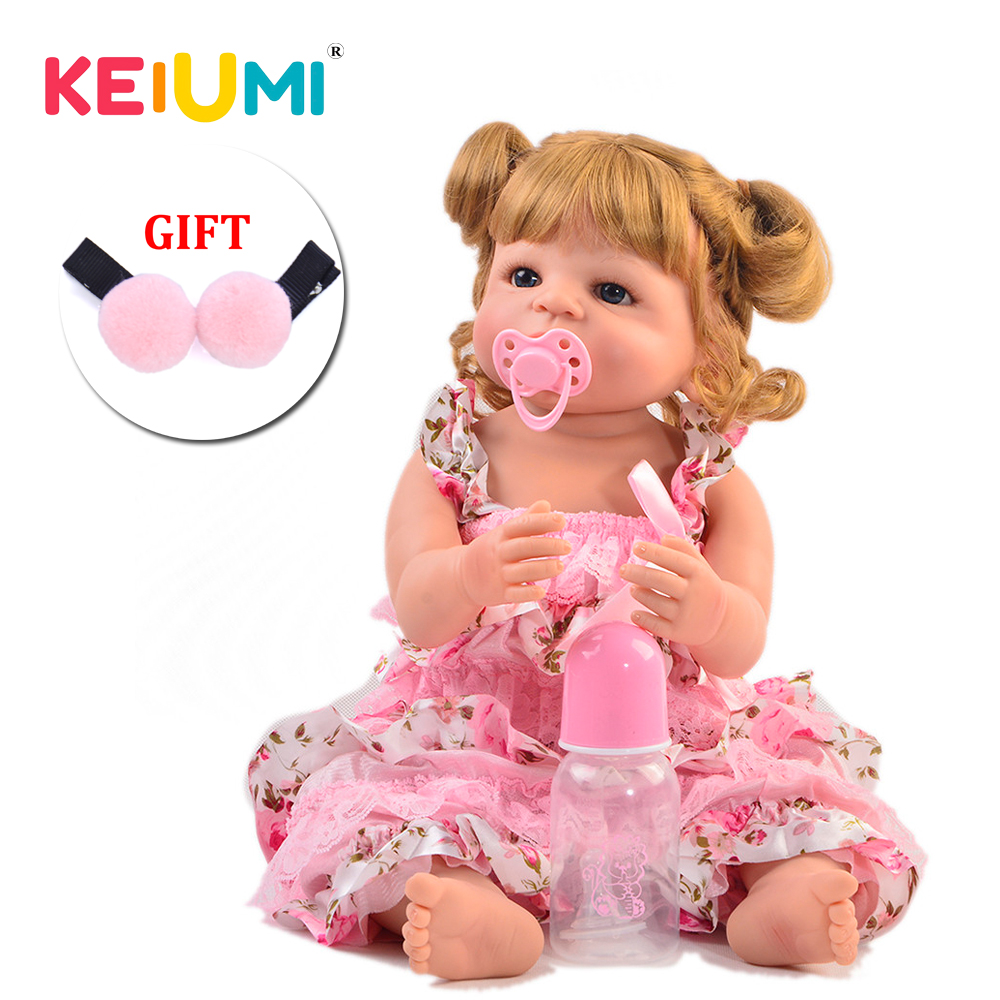 KEIUMI Gold Curls Reborn Boneca 55 cm Simulate Real Full Silicone Vinyl Reborn Baby Dolls Alive