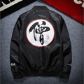 2016 Mens Bomber Jacket Fashion Mens Embroidery Kanji Windbreaker Jacket P4137