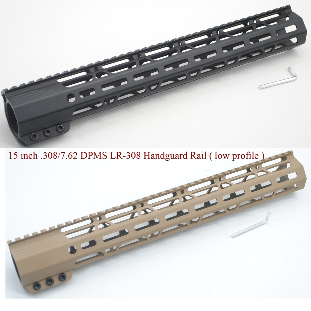 TriRock 15'' Inch Black/Tan Color LR-.308 Clamping Style M-LOK Handguard Rail Free Float Mount System Low Profile Hand Guard