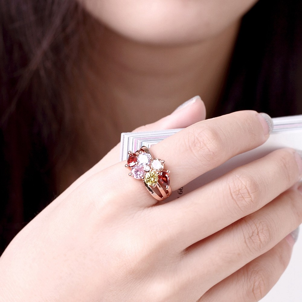 Gold Color Women Luxury Multicolor Weeding Ring Multi Color AAA ...