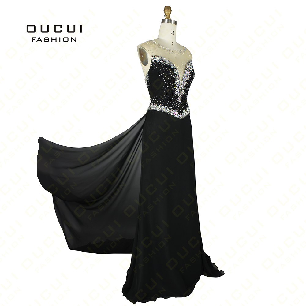 Chiffon Fabric With Tulle robe de soiree Sparkle Beading Handwork Long Evening Dress Elegant OL102452