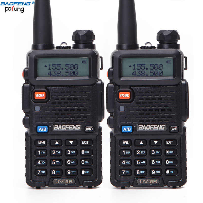 2 pièces Baofeng BF-UV5R Radio Amateur Portable talkie-walkie Pofung UV-5R 5W VHF/UHF Radio bibande Radio bidirectionnelle UV 5r CB Radio