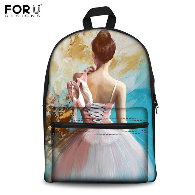 FORUDESIGNS Dancing Ballet Girl Painted Backpacks Fashion School Backpack for Teenage Girls Canvas Book Bag Bagpack Casual Bolsa
