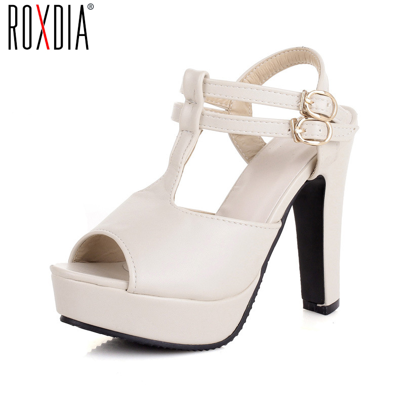ROXDIA New Fashion Double Buckle Fish Mouth Women Sandals High Heels Woman Pumps Ladies Shoes Plus Size 36-43 RXW024 new listing hot sales summer fashion brand sexy women fish mouth high heels sandals women shoes pumps height 9cm 3603