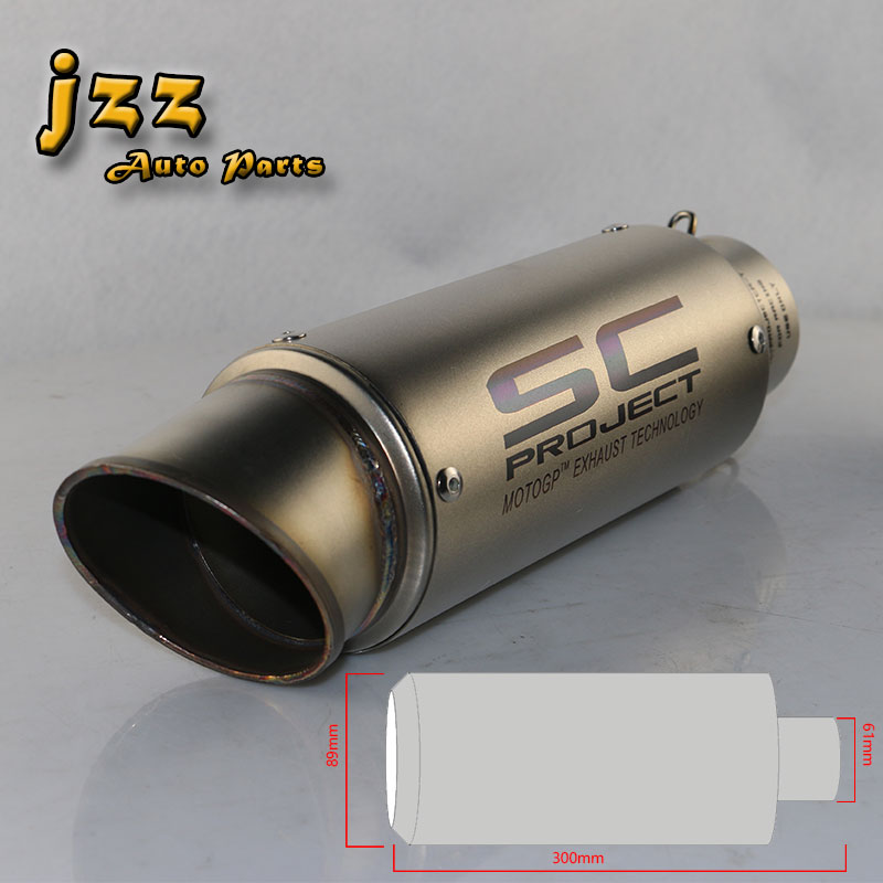 JZZ akrapovic motorcycle exhaust system universal motorcycle muffler sound bomb escape pipe scooter db killer a tube trumpet jzz 1pcs akrapovic car exhaust pipe