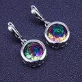 Alta Qualidade De Casamento Rodada Criado Rainbow Místico Topázio 925 sterling Sliver Brincos Gota Para Mulheres Frete Grátis & Boxe