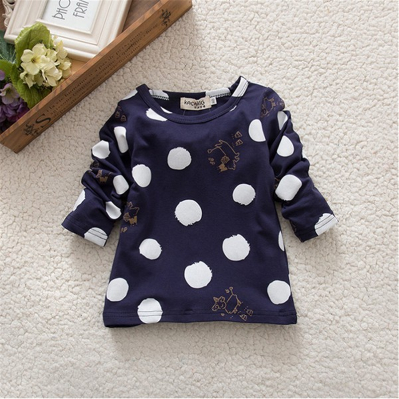Child-Kids-Baby-Girls-Boys-Unisex-Polka-Dots-Long-Sleeve-Tops-T-Shirt-Cotton-Basic-Tees-1