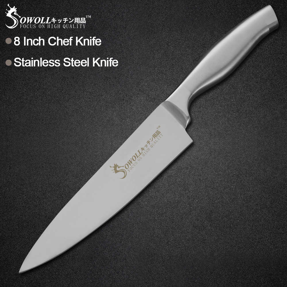 Sowoll Kitchen Stainless Steel Knife Meat Fish Fruit Vegetable Cooking Tool Chef Bread Slicing Santoku Utility Paring Knife
