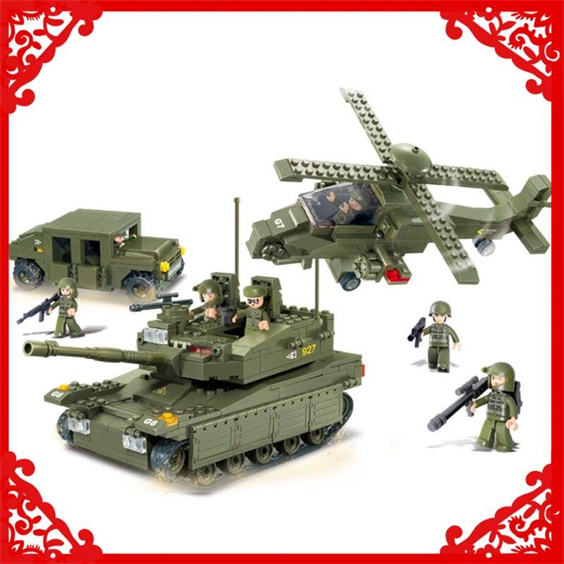 SLUBAN 0309 683Pcs Army Tank Helicopters Hummer Building Block Compatible Legoe  Figure Toys Gift For Children sluban 0338 cargo truck vehicle building block 345pcs diy educational toys for children compatible legoe