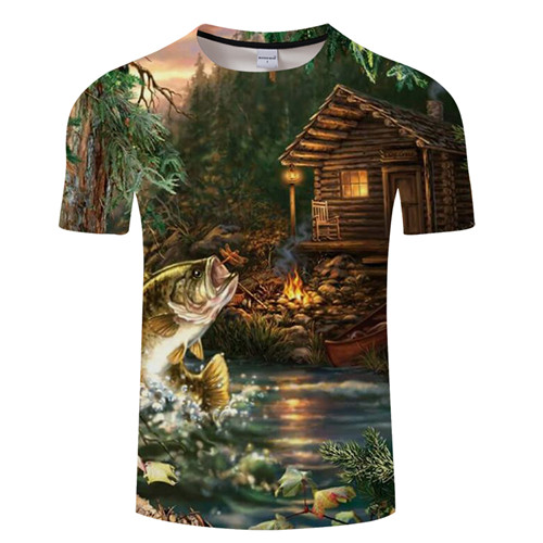 Новая футболка для рыбалки, стильная повседневная футболка с цифровым 3D принтом рыбы, мужская и женская футболка, летняя футболка с коротким рукавом и круглым вырезом, Топы И Футболки S-6XL - Цвет: TXKH1214
