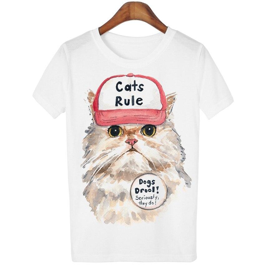 c79a79c07516b Nova Harajuku 2016 Verão Tops T-Shirt da Cópia Do Gato Dos Desenhos  Animados Mulheres Alguns Animais Camiseta Femme T Tshirt da Camisa Branca T