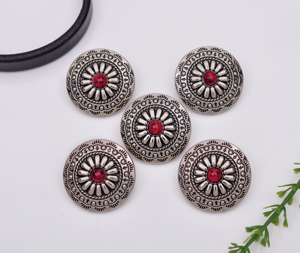 Beads & Jewelry Making Active 10pcs 30x30mm Flower Hair Bobbles Bling Silver Navajo Red Bead Flower Leathercraft Saddles Sewing Back Shank Conchos Pleasant In After-Taste