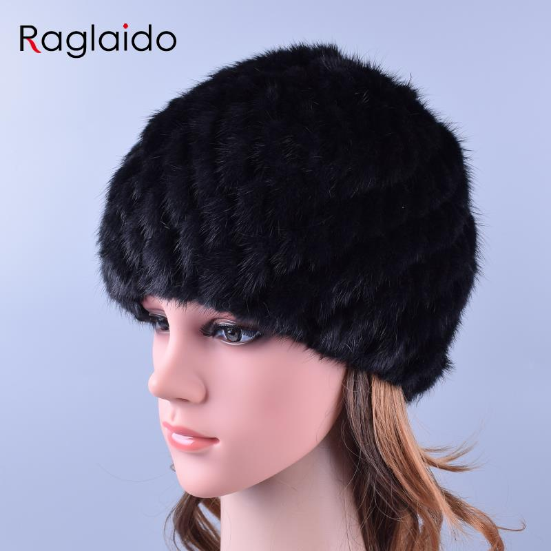 Apparel Accessories ... Hats & Caps ... 32726436747 ... 2 ... Raglaido Knitted Mink Fur Hats for Women Genuine Natural Fur Pineapple Cap Winter Snow Beanie Hats Russian Real Fur Hat LQ11191 ...