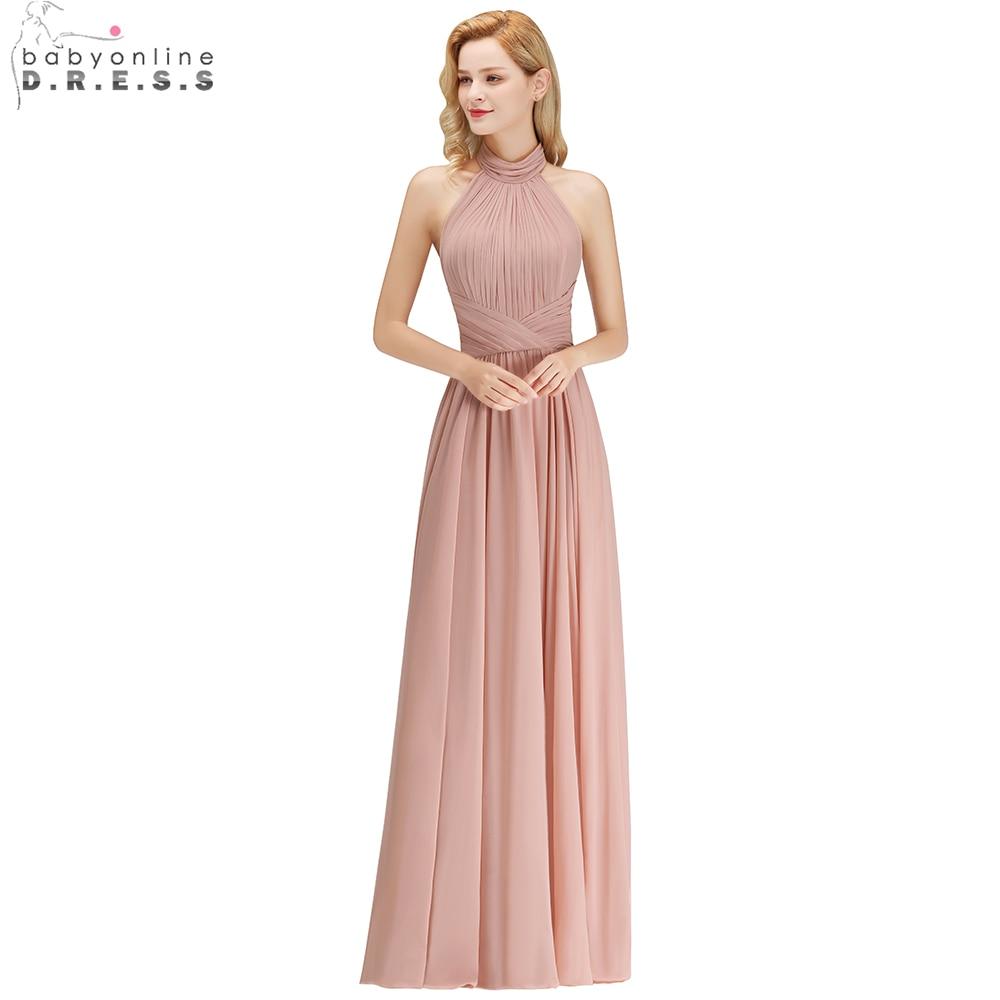 Babyonline Sexy Halter Dusty Rose Long Bridesmaid Dresses 2019 Backless Wedding Party Dresses robe demoiselle d'honneur