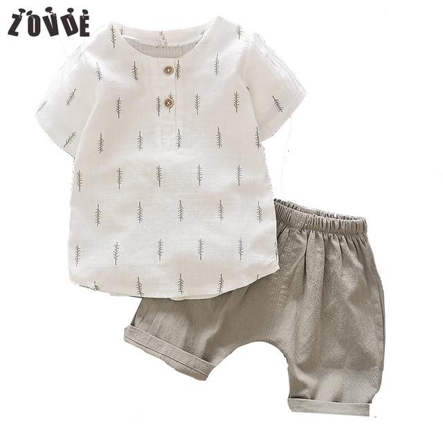 2018 Tracksuit For Boys Kids Top Suits Linen T shirt + Pants 2 PCS Boutique Short Baby Boys Clothes