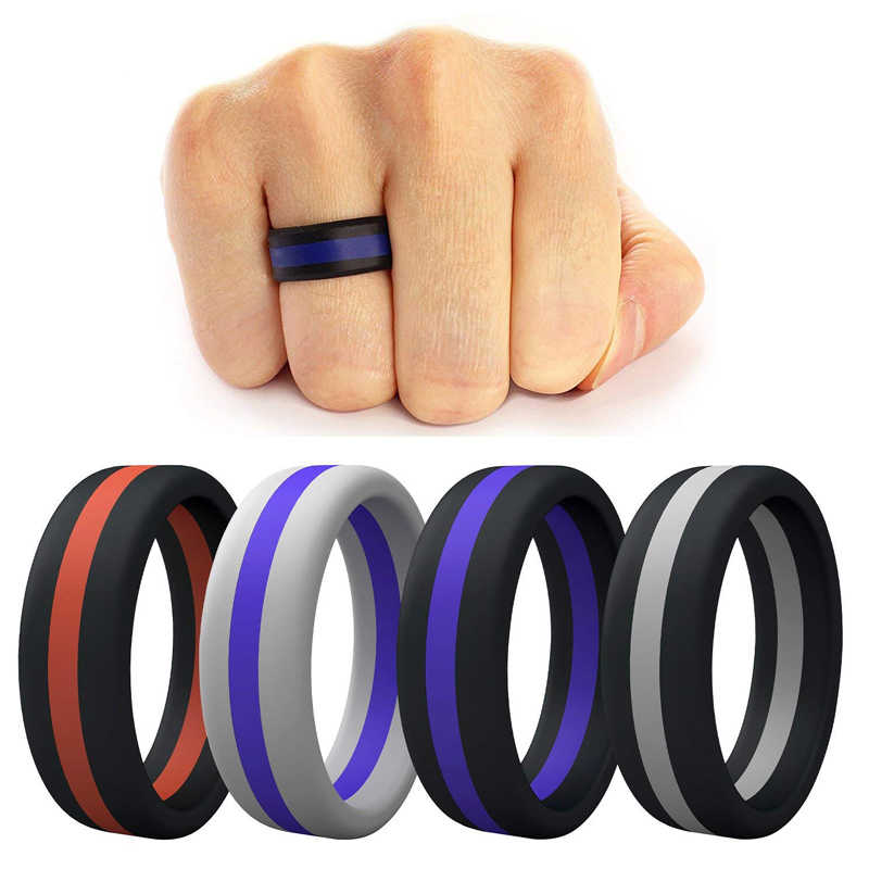 Silicone Ring Men Women Engagement Wedding Rings Colorful Three Layered Hypoallergenic Crossfit Flexible Rubber Finger Rings