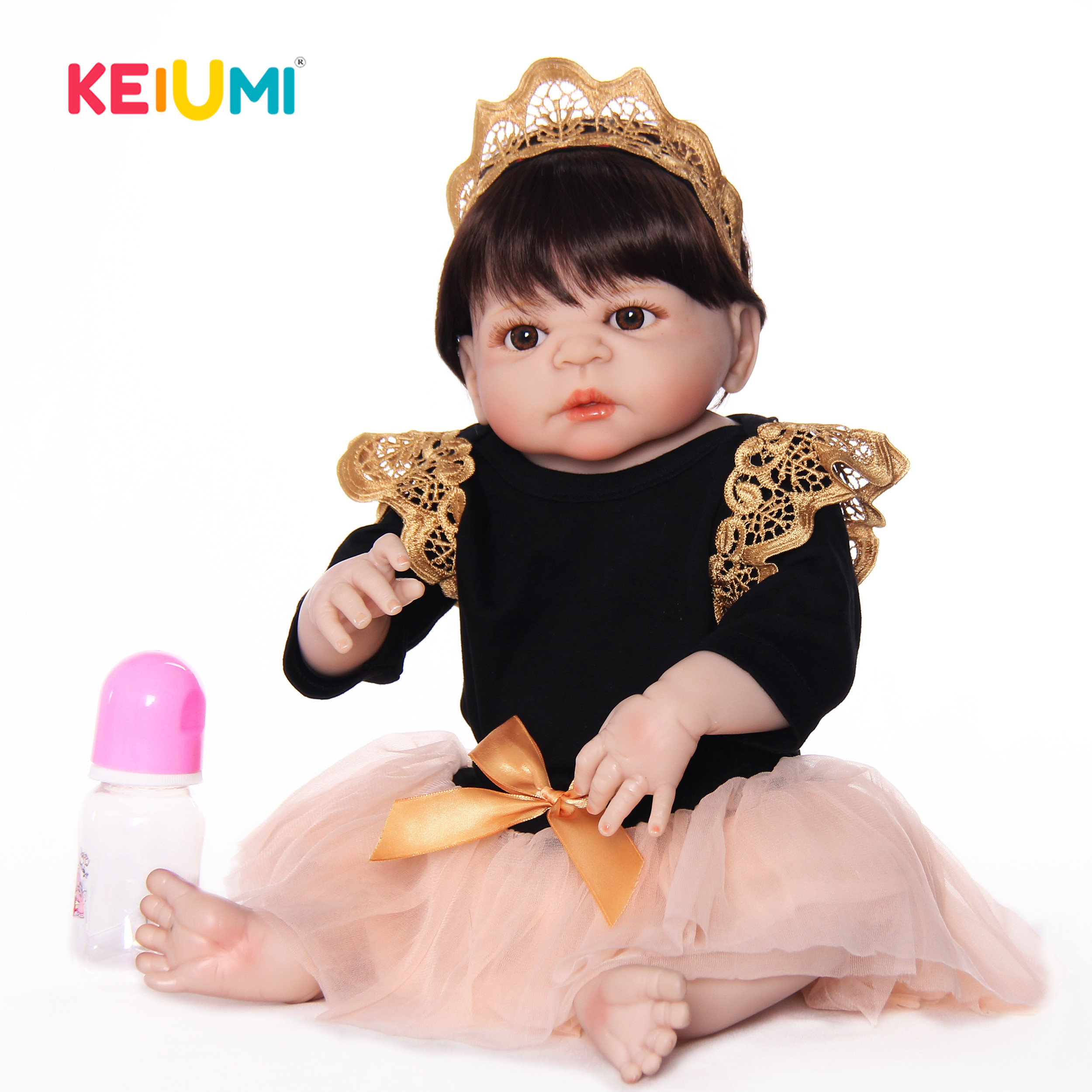 Neueste Stil Reborn Baby Puppen 23 Zoll Full Silikon Vinyl Handgemachte Neugeborenen Prinzessin Mädchen Puppe Spielzeug Für Verkauf Kinder Geburtstag geschenke-in Puppen aus Spielzeug und Hobbys bei  Gruppe 1