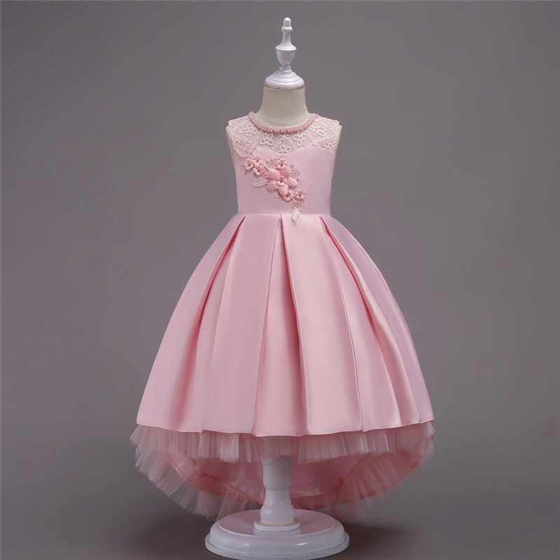 Teens Girls Dresses Summer 2018 Kids Long Party and Wedding Clothes Girls Princess Embroidered Pearl High Low Dress 3-16 Years pearl beading eyelet embroidered cuff tiered dress