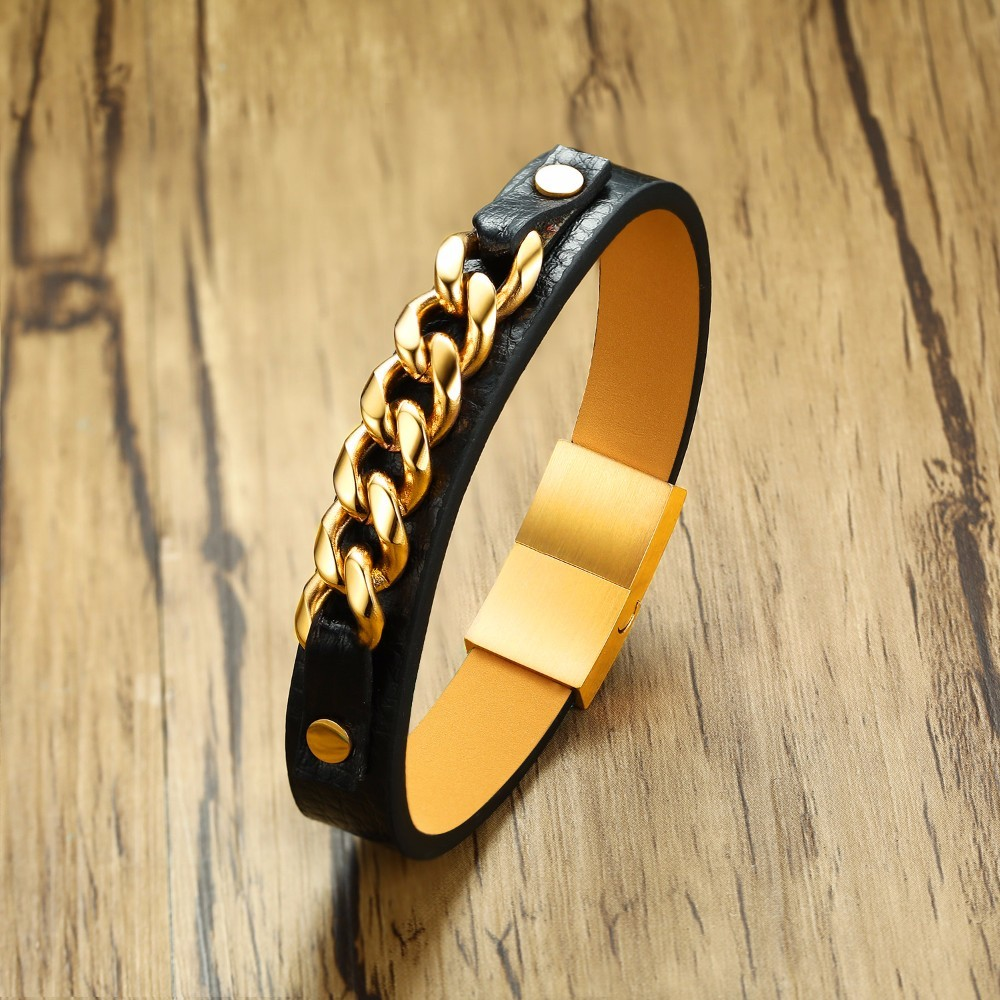 Mens Gold Tone Steel Chain Ornament & Black Leather Bracelet for Men Wristband Pulseira Braslet Bileklik Armband 8 inch