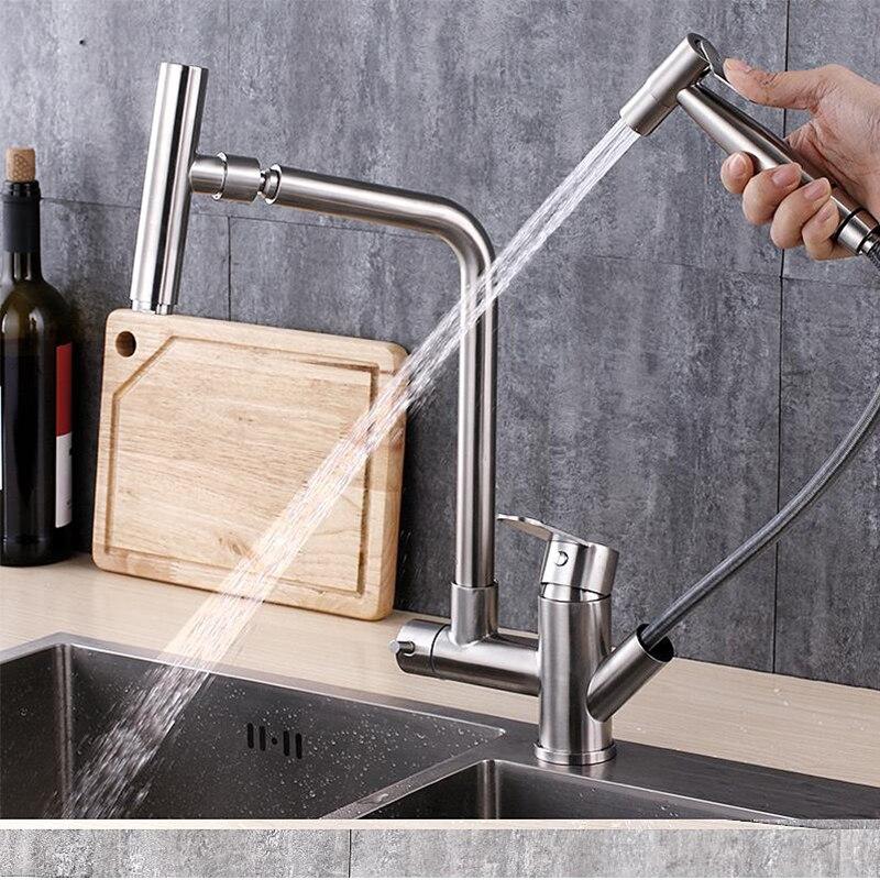 Pull out kitchen sink faucet tap ha a spruzzo pistola ad acqua doppio manico acqua calda e freddaPull out kitchen sink faucet tap ha a spruzzo pistola ad acqua doppio manico acqua calda e fredda