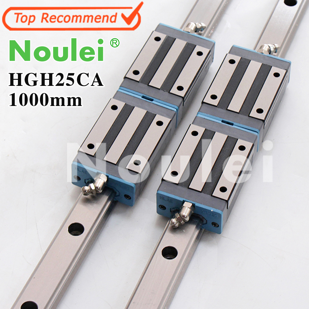 Noulei 2pcs 1m Linear Guide Rail L 1000mm + 4pcs HGH25CA carriage Guideway thk interchangeable linear guide 1pc trh25 l 900mm linear rail 2pcs trh25b linear carriage blocks