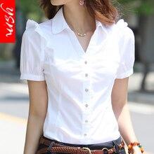 Women's Elegant Short Sleeve Cotton Blouses 2017 Summer Plus Size Ladies Officewear Sequin Blouse Feminina White Formal Shirt