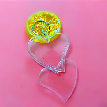 150 Pcs Crooked Heart Shaped Transparent Blank Insert Photo Picture Frame Key Ring Split keychain