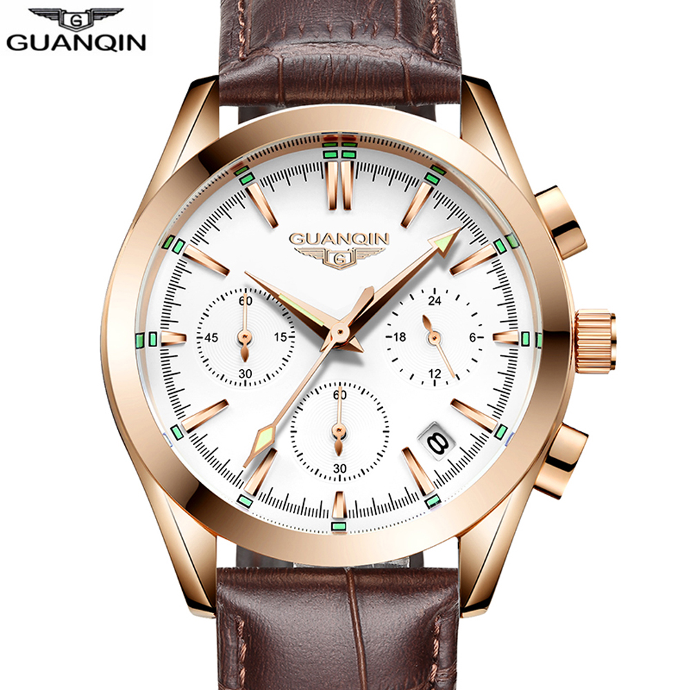 GUANQIN Top Brand 2018 New Men Business Quartz Watch Men Auto Date Chronograph Male Watches Men Luxury Luminous Leather Clock