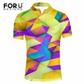 FORUDESIGNS Men Business&Casual Polo Shirt for Male Polos Man Short Sleeve Shirt 3D Colorful Polo Shirts Breathable Camisa Polos