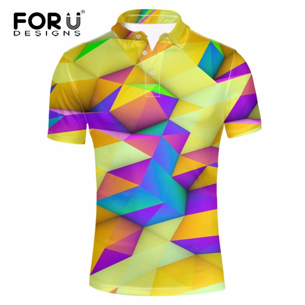 FORUDESIGNS Men Business&Casual Polo Shirt for Male Polos Man Short Sleeve Shirt 3D Geometric Polo Shirt Breathable Camisa Polos