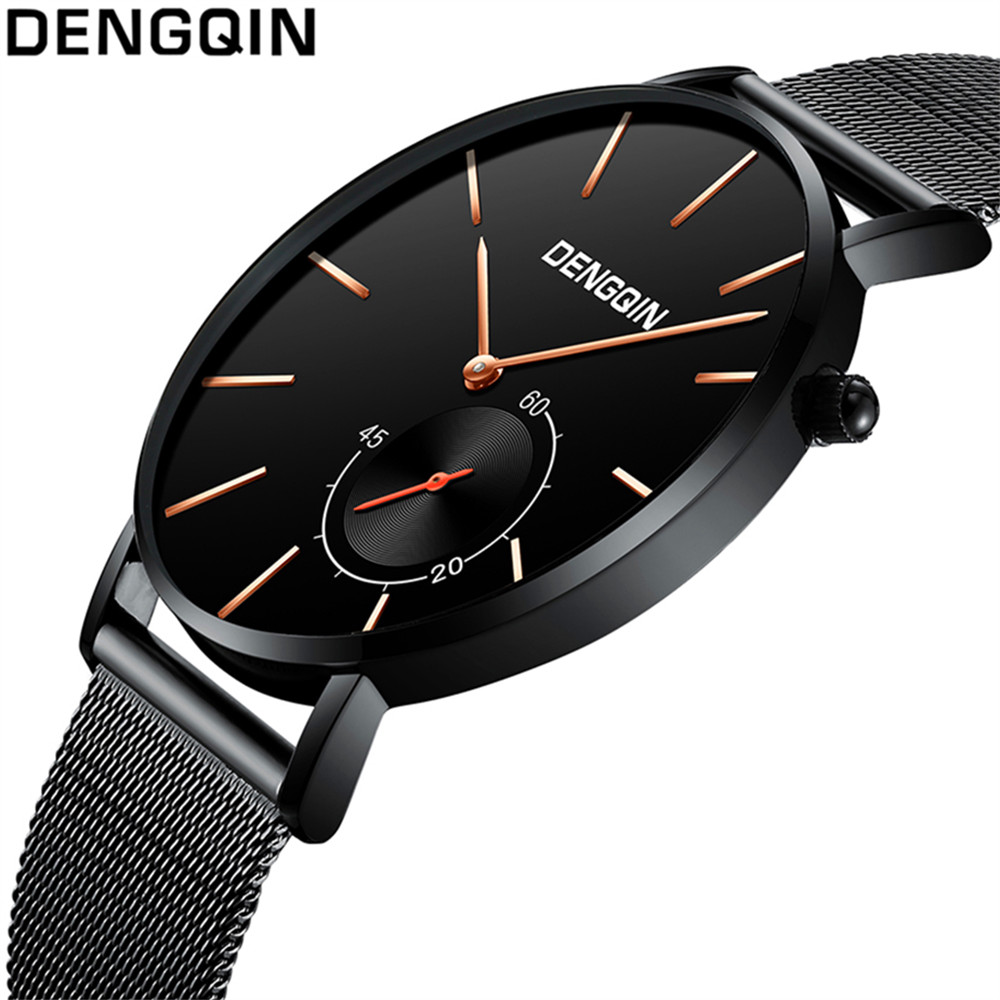 DENGQIN Ultra-thin Luxury Brand Stainless Steel  Waterproof Watches Men's Watch Analog Quartz Male Clock Relogio Masculion