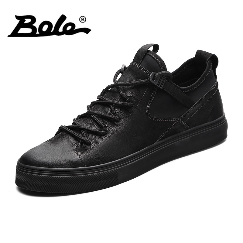 BOLE Lace Up Leather Sneakers Fashion New Spring Autumn Genuine Leather Casual Shoes Comfortable Non-slip Flats for Men odetina 2017 new designer lace up ballerina flats fashion women spring pointed toe shoes ladies cross straps soft flats non slip