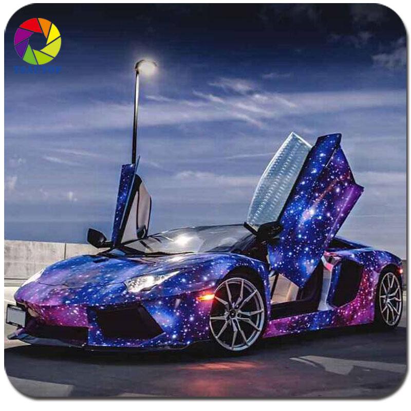 Big Cars: 2016 Top Quality 1.52*30m Popular Purple Star Galaxy Car
