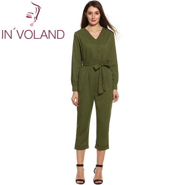 c650f32206f IN VOLAND Casual JumpSuit For Women 2017 Spring Autumn Long Sleeve V-Neck  Solid Bow Belt Button Slim Sexy Feminino Romper L-3XL