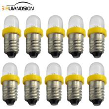 10pcs/lot White 6V 12V Warning Light Bulb Low Power Consumption E10 LED Screw Base Indicator Cold Yellow Blue Green Red