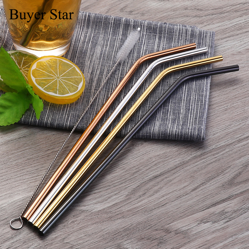 100pcs Stainless Steel Drinking Straws Cleaner Brush Reusable Unfolded Bend Metal Straw Gold Black Kitchen Hot