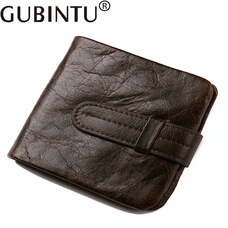 Gubintu Vintage Luxury Fashion Cowhide Men Genuine Leather Wallet Male Purse Small Perse Short Walet For Cuzdan Vallet Money Bag