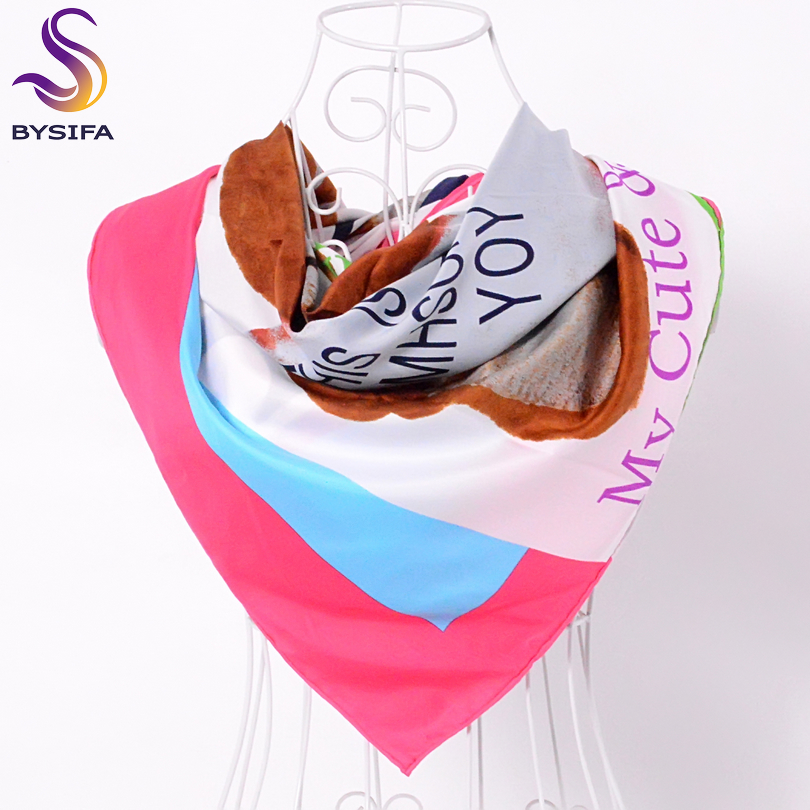 [BYSIFA] Lovely Bear Letters Twill   Scarves     Wraps   Ladies Fashion Autumn Winter 90*90cm Women Dark Pink Silk   Scarf   Shawl bufandas