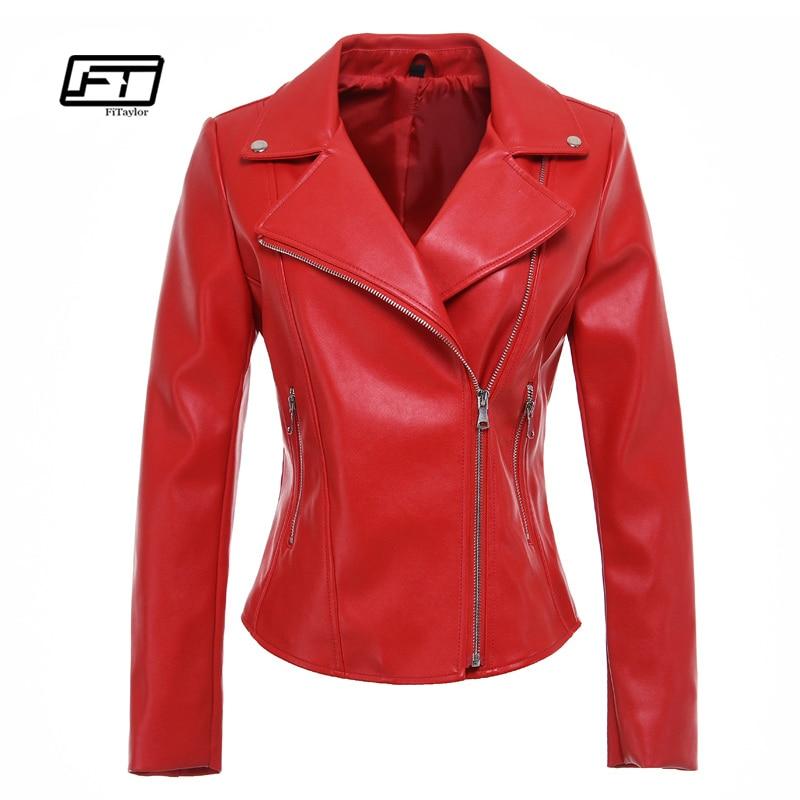 Fitaylor New Women Faux   Leather   Jacket Soft PU Red Black Biker Coat Casual Zipper Punk Slim Outwear Motor   Leather   Jackets