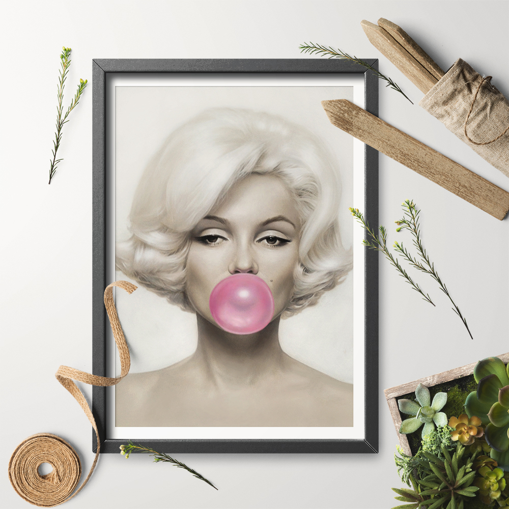 Art Marilyn Us 7 84 Art Print Wall Art Home Decor Marilyn Monroe Pink Bubble Gum Photo Print Poster Canvas Painting No Frame In Painting Calligraphy From