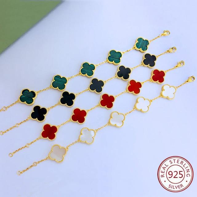 cec449e8b467 S925 de plata esterlina cuatro hoja trébol pulsera modelos femeninos moda  europea y americana mano joyas regalos navidad