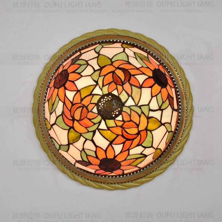European Pastoral sun flower Tiffany glass bedroom ceiling light Bar Restaurant 38cm 38 38cm