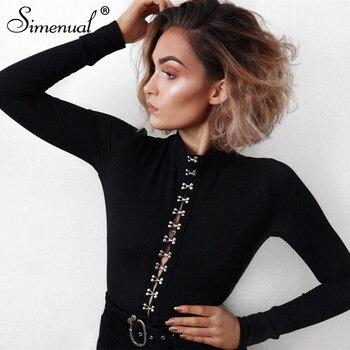 d5907888fd8d Simenual botones up otoño bodysuits monos moda negro manga larga sexy  bodysuit mujeres monos medio cuello alto cuerpo femme
